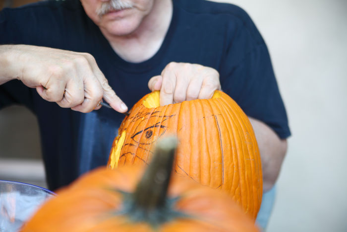 Halloween pumpkin carving by older man American Culture Autumn Carving Casual Clothing Fall Fingers Halloween Hands Holding Holiday Tradition Jack O' Lantern Leisure Activity Man Natural Light October Outdoors Pumpkin Seasonal Senior Traditional Using Tool