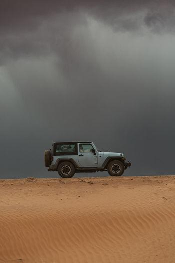 Vintage car on desert land