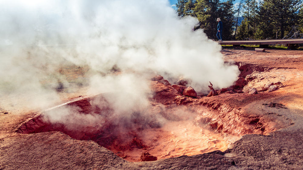 Beauty In Nature Evening Light Fountain Paint Pot Area Fumarole Heat - Temperature Landscape National Park Outdoors Red Spouter Scenics Wyoming Yellowstone National Park