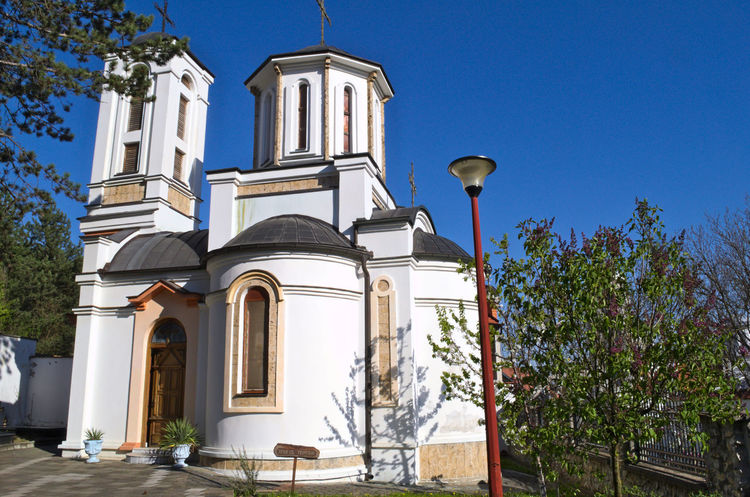 Church in Monastery complex Privina Glava, Sid, Serbia Christian Hope Monastery Serbia Architecture Bell Tower Blue Building Exterior Built Structure Clear Sky Day Fate  Low Angle View No People Ortodox Church Outdoors Place Of Worship Religion Sky Spirituality Tree