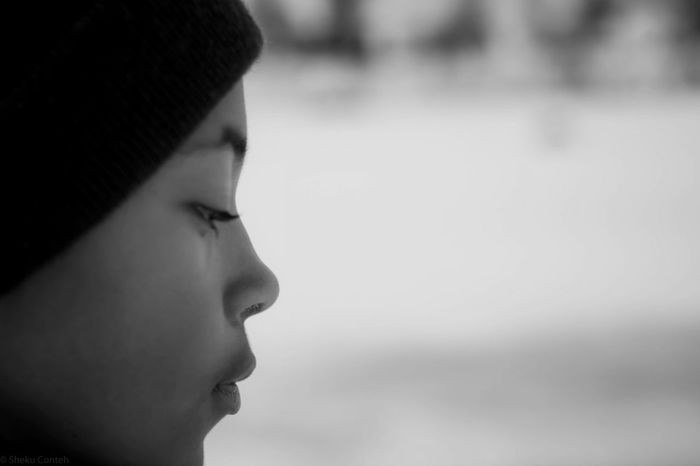 Winter face Monochrome Balck And White Family Headshot Real People One Person Close-up Focus On Foreground Child Portrait Looking Away Childhood Lifestyles Looking Side View Innocence Day Girls Human Face Outdoors Contemplation