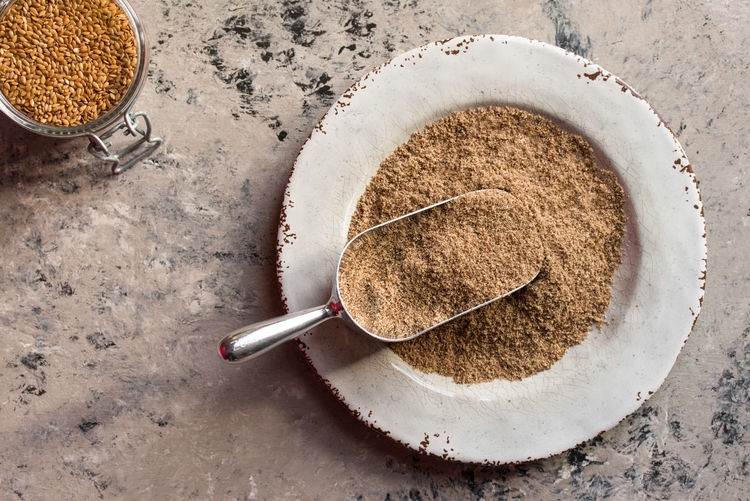 Bulk Ground Flaxseed Flax Flaxseed Flax Seed Ground Ground Flaxseed Food And Drink Food Directly Above No People Close-up Ingredient Scoop Isolated Macro Bulk