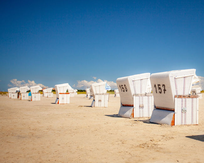 Sky Land Beach Sand Clear Sky Nature Copy Space Architecture Hooded Beach Chair Sunlight Blue Day Built Structure Summer Holiday Vacations Trip Outdoors Tourism Travel Destinations Strandkorb Sankt Peter-Ording EyeEmNewHere