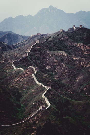 Great wall of china against foggy weather