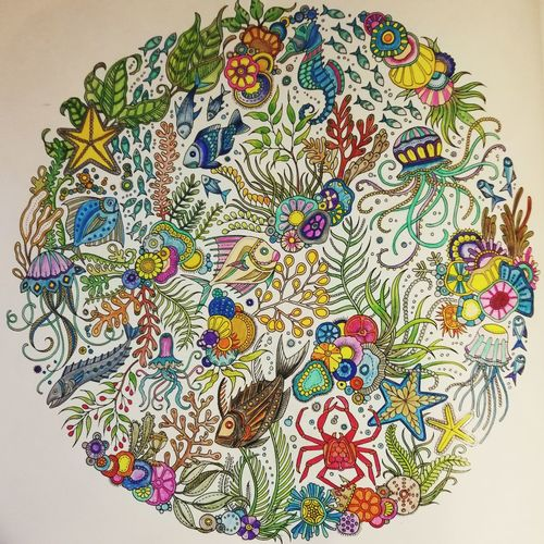 Deep ocean Colorful Mandala Lost Ocean Johanna Basford Relaxing Multi Colored Variation Painted Image Ink