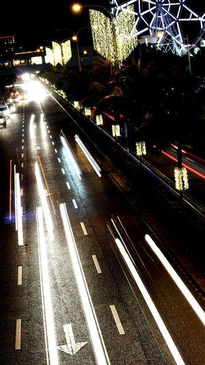 speed of light Illuminated Night Transportation Street City Railroad Track Outdoors Road AI Now