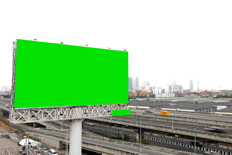 Billboard blank for outdoor advertising poster on the highway Copy Space Green Color Built Structure Sky No People City Architecture Clear Sky Road Communication Rail Transportation Sign Nature Building Exterior Outdoors Day Transportation Blank Public Transportation Track Billboard Advertising Poster Highway