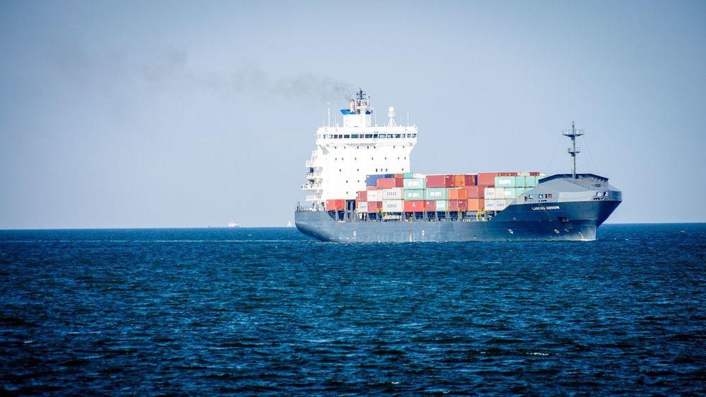 Containerschiff auf der Kieler Förde Ship Sea And Sky Cargo Ship