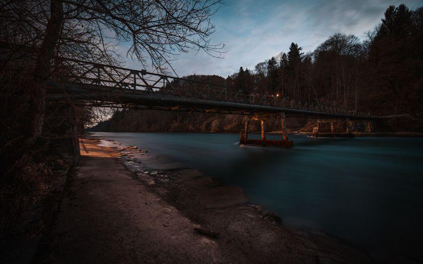 Blue Hour Dark Tree Aare Bridge Bridge - Man Made Structure Built Structure Connection Long Exposure Night River Water