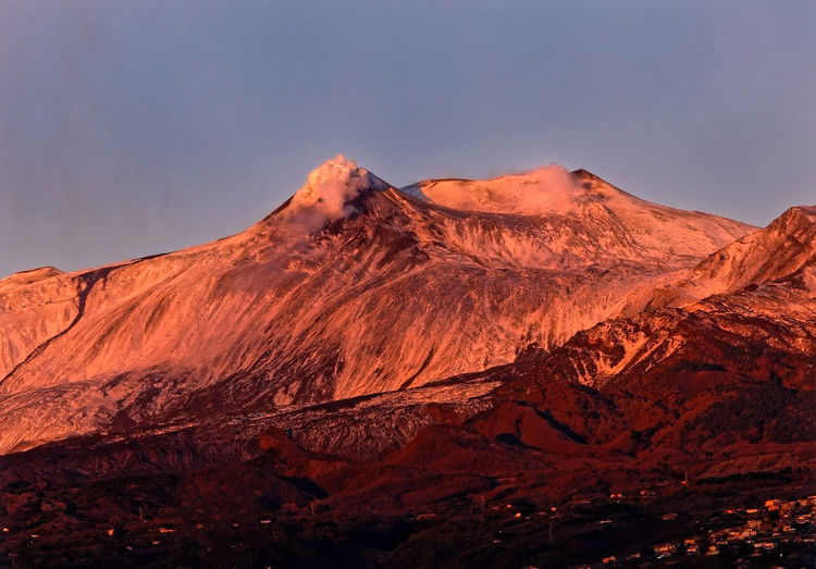 Scenic view of etna snowcapped mountains against clear sky