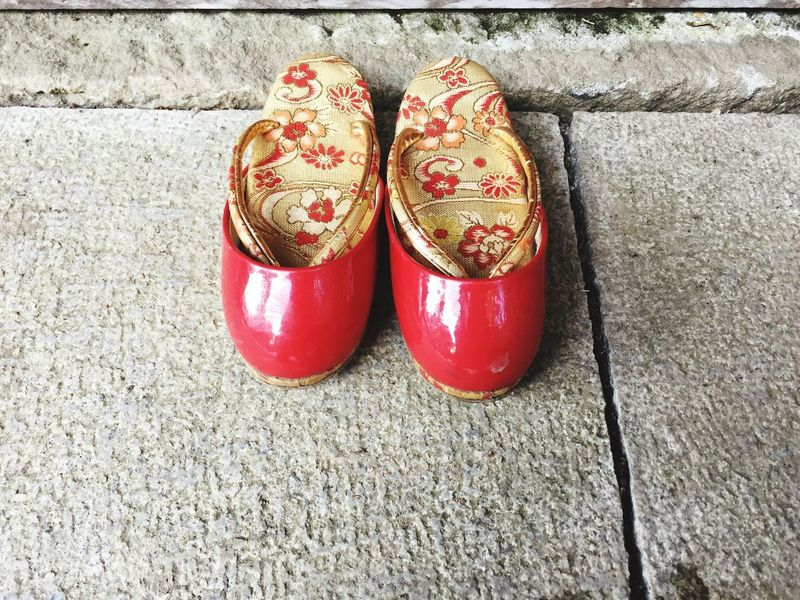 Tradition Japanese  Shoe Pair Red No People Day Celebration Event Outdoors