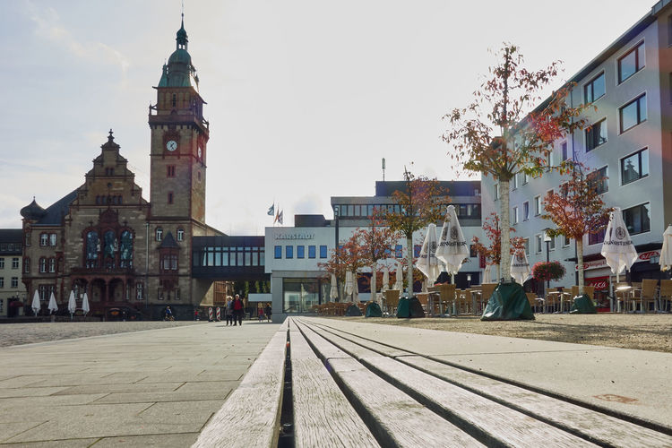MOENCHENGLADBACH-RHEYDT, GERMANY - OCTOBER 13, 2016: Panoramic view on empty cafe and department store, and town hall. Architcture City Light And Shadow Market Mönchengladbach-Rheydt New Market New York Public Building Spaces Sunny