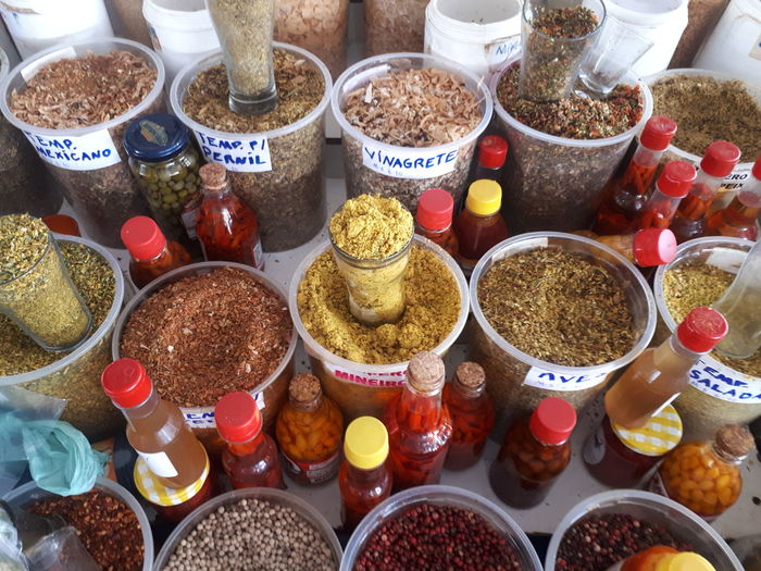 High angle view of various food for sale at market