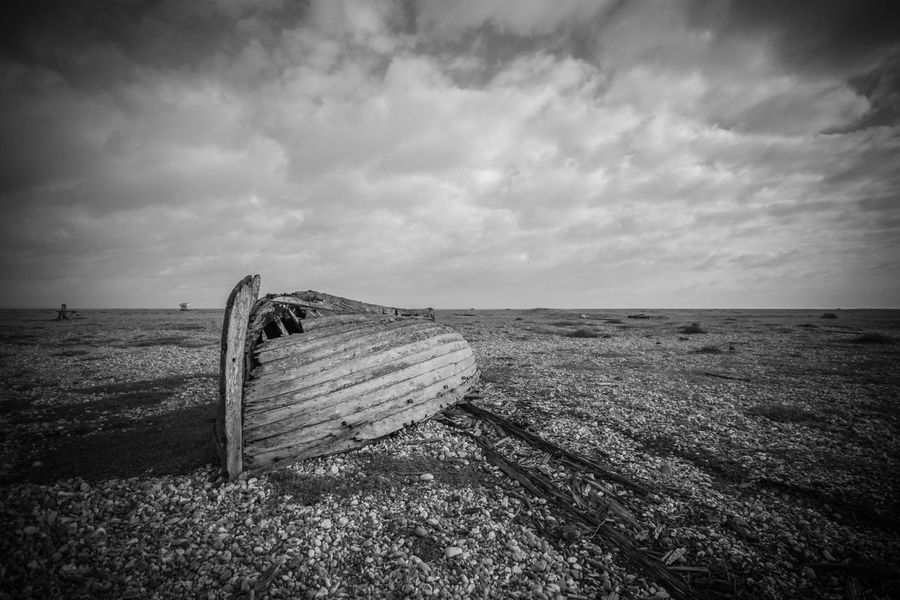 Boat Rotting.. Boat Rotting Wood Rotting Away Shingle Dungeness Kent Blackandwhite