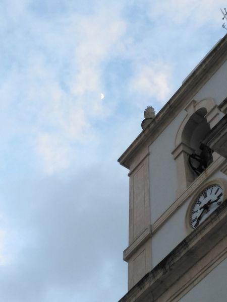 Blue Sky Clock Tower Day Ourém Sky Sky Moon