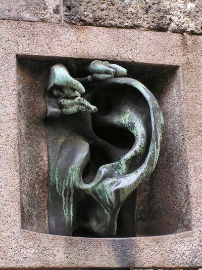 """""""Orecchio"""" di Wildt in Via Serbelloni a Milano Wildtiere Architecture Art And Craft Building Exterior Close-up Creativity Human Representation Intercom Sculpture Wall - Building Feature"""