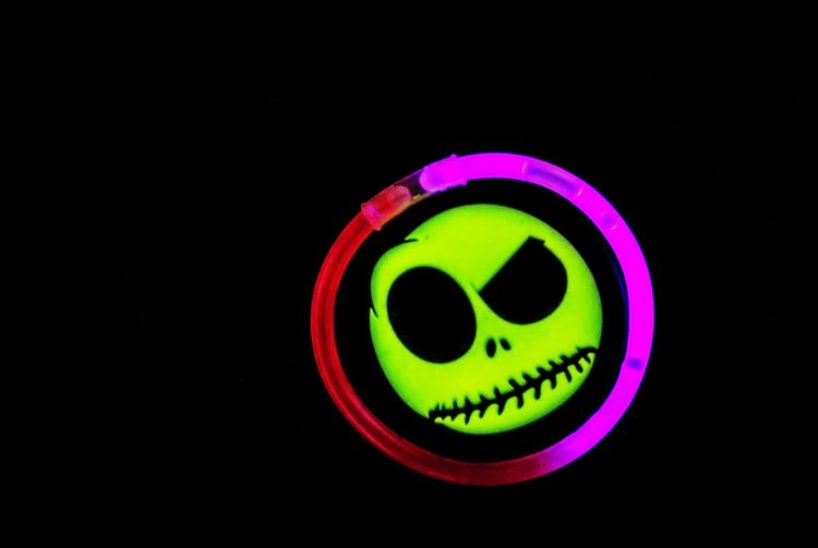 Jack BlackandColor Jack Skeletron Nightmarebeforechristmas Phosphorescence Illuminated Multi Colored Black Background Close-up Light Effect Circle Light Circular