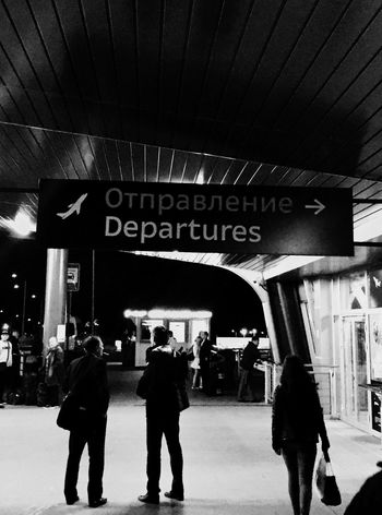 Walking Text Men Information Sign Transportation Journey Ceiling Waiting Entrance Dark Tourism St Petersburg Travel Destinations Blackandwhite Airport Pulkovo Departure Traveling Travel