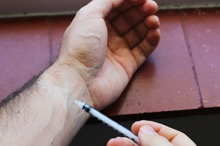 Close-up of hand holding finger