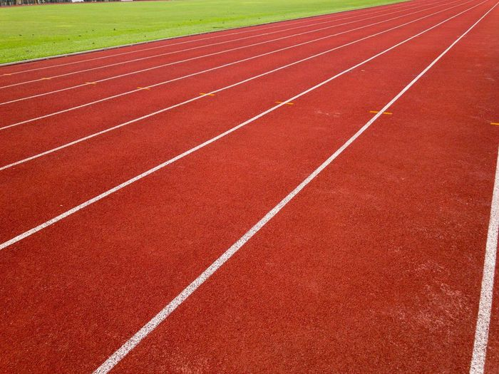 High angle view of running track