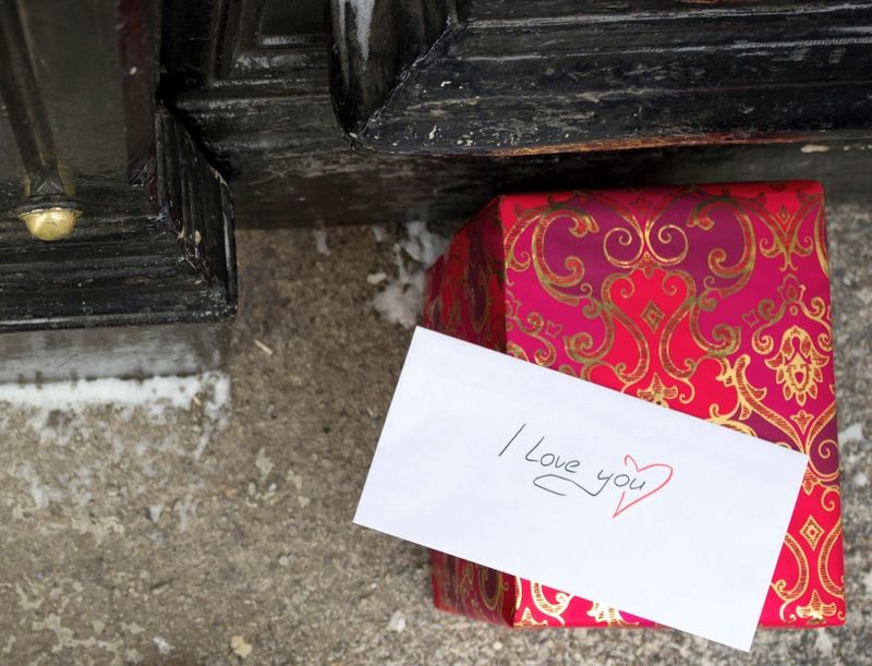 Surprise infront of your door. Apology Gift Surprise Present Letters Letter Box Doorstep Topview Unexpected Love