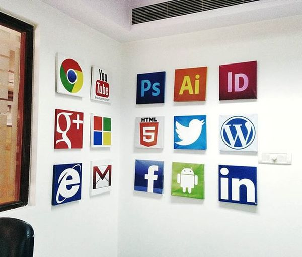 """""""Design is the method of putting form and content together. Design, just as art, has multiple defintions, there is no single definition. Design can be art. Design can be aesthetics. Design is so simple, that's why it is so complicated."""" Office Walldesign Adobe Twitter Facebook Google Youtube Microsoft Walldisplay August28inc A28inc Rajeevkumar"""