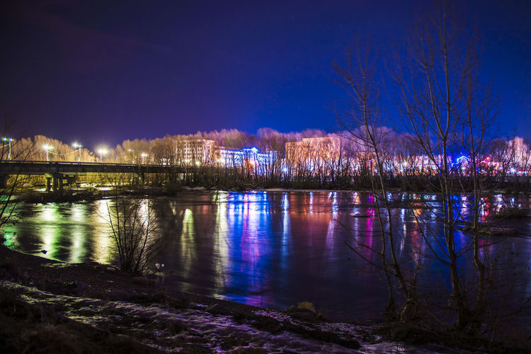 Long Exposure Night River D610 Water Illuminated City Reflection Multi Colored River Sky