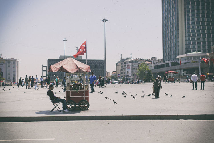 #bored #istanbul #pigeons #birds #streetfood #Turkey City City Life Clear Sky Day Flag Outdoors Patriotism Street Street Light