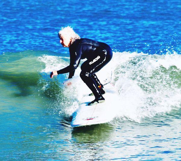 Active Senior Grandma Bodyglove Surfing Water Aquatic Sport Motion Sea Sport One Person Surfing Leisure Activity Wetsuit Wave First Eyeem Photo