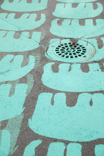 Paint Street Art Streetart Elephant Elephant Pattern Turquoise Pattern High Angle View No People Day Outdoors Close-up