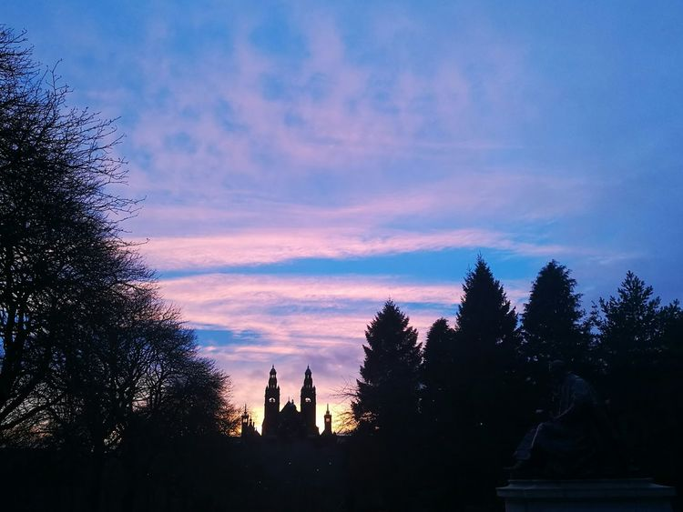 KelvingroveArtGalleries Kelvingrove Park Sunset Sky Shilouette University Life Glasgow  Scotland Winter feel free to give your opinions :)