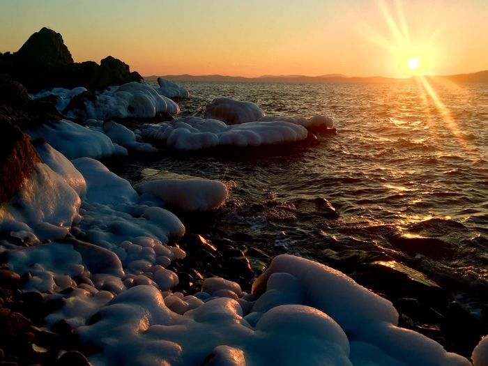 Sunset Sea Seaside Ice Stone Sun Nature_collection Nature IPhoneography Taking Photos Relaxing Walking Around Winter Beautiful Day Vladivostok EyeEm Nature Lover