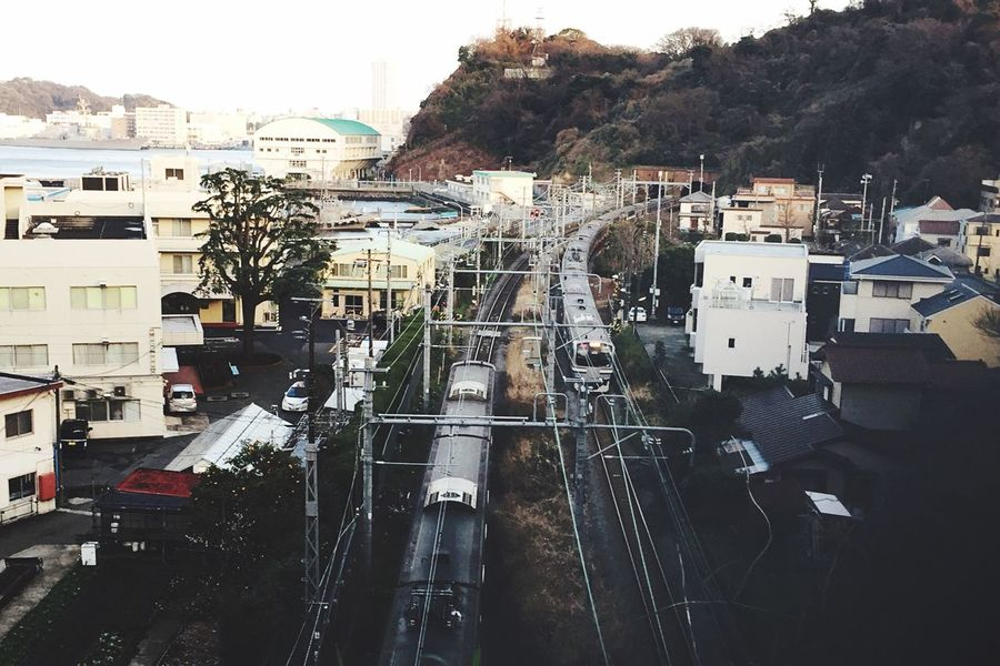 Cityscape Gorge Railway Railroad Rail Transportation Train Transportation Tunnel Houses Built Structure City Yato Come And Go Seaside Sea Bay Gulf Naval Base By The Sea By The Seaside High Angle View Muted Colors Birds Eye View Yokosuka Japan