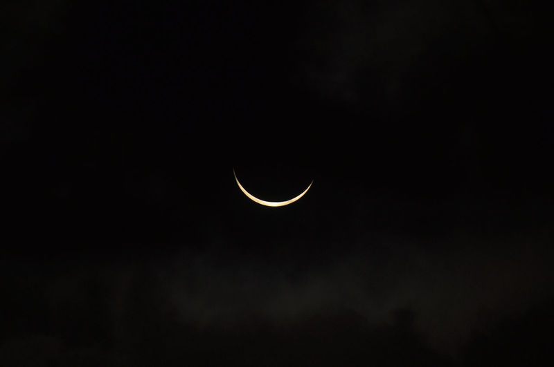 Idyllic Shot Of Crescent Moon In Sky