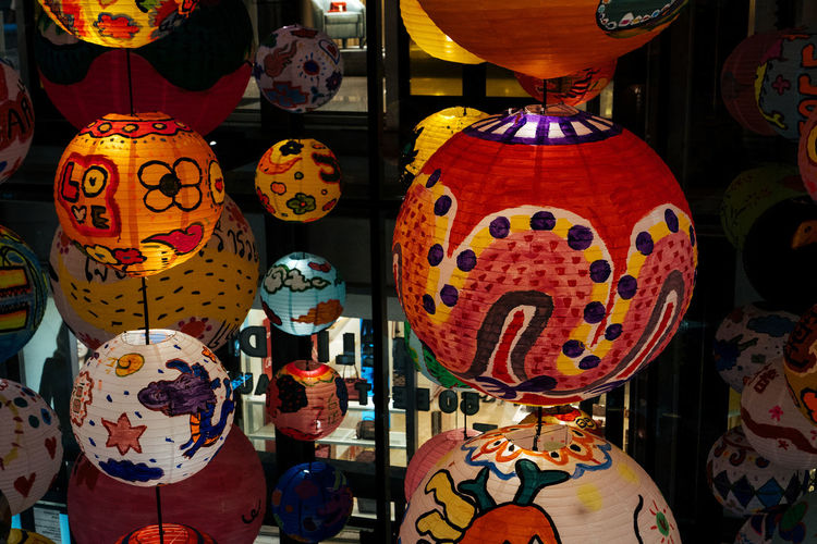 Retail  Market For Sale Choice Hanging No People Variation Decoration Multi Colored Lantern Art And Craft Indoors  Large Group Of Objects Close-up Celebration Market Stall Retail Display Arrangement Craft