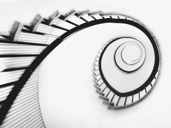 Stairwell Staircase Spiral Steps And Staircases Railing Steps Spiral Stairs Architecture Built Structure Design Stairs High Angle View Spiral Staircase Indoors  Hand Rail Day No People Blackandwhite Blackandwhite Photography