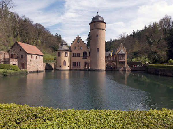 Bavaria Castle Historical Building Mespelbrunn Reflection Romantic Trees View Architecture Building Exterior Built Structure Cloud - Sky Forest History Lake Medieval Reflections In The Water Sky Spessart  Spire  Stronghold Tower Tree Water Water Castle
