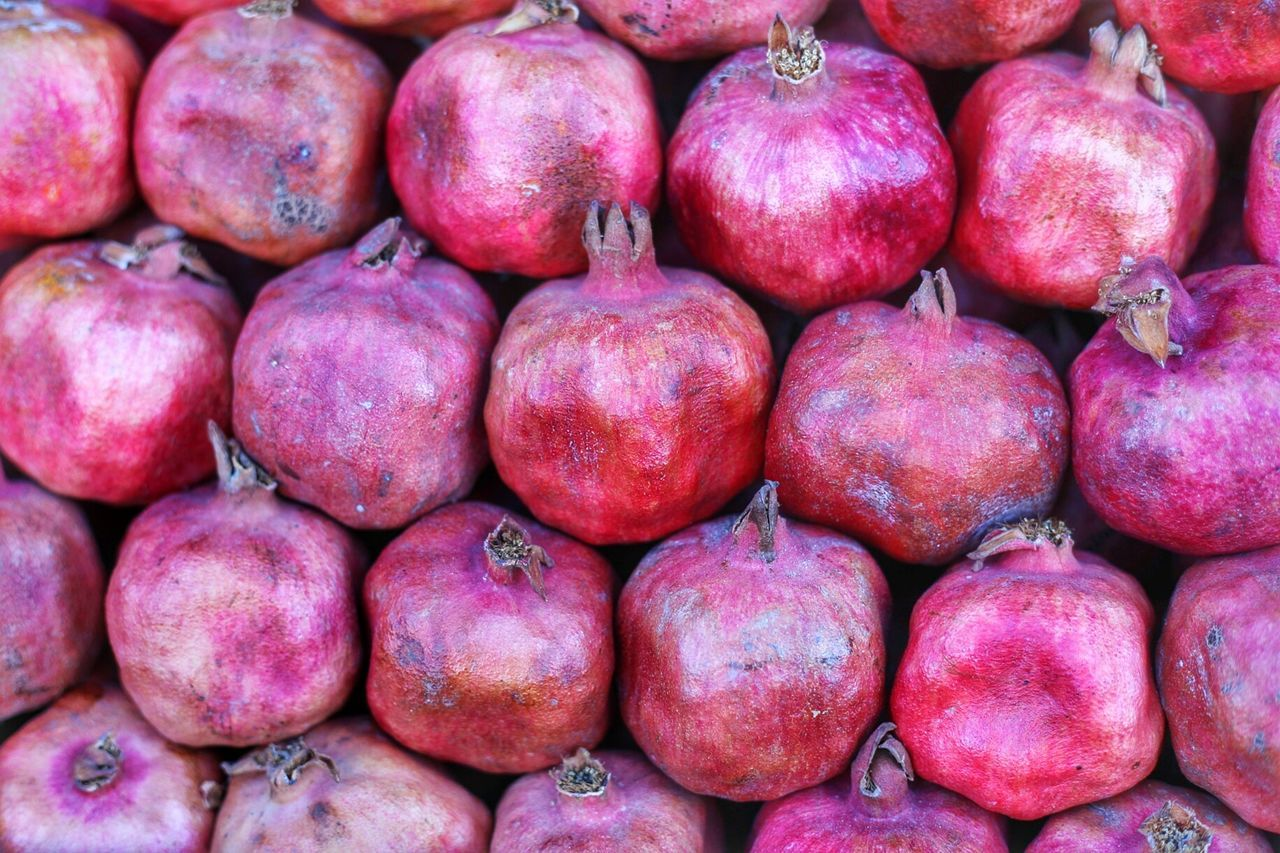 Full frame shot of pomegranates