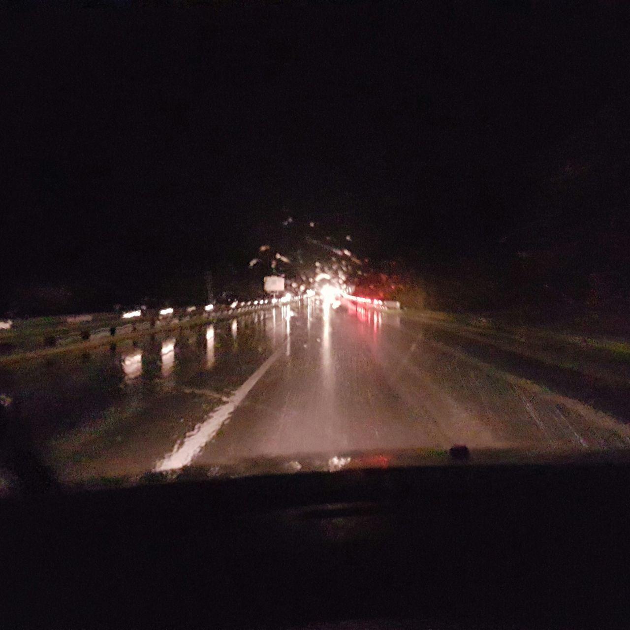 night, illuminated, road, transportation, long exposure, no people, motion, outdoors, sky