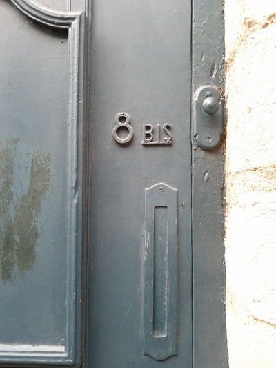 Huit bis 8b Close-up Closed Dirty Door French Full Frame Metal No People Number Numbering Obsolete Old Old-fashioned Text Wall - Building Feature Western Script