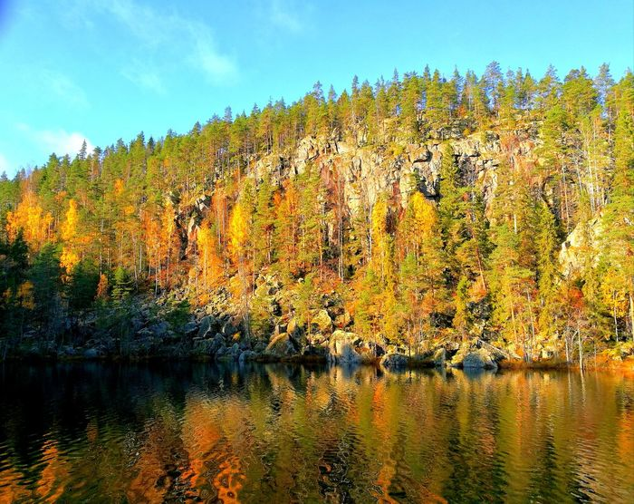 Sky Nature No People Outdoors Scenics Hill Finland Peaceful Moment Perspectives On Nature Eyeemphotography Autumn🍁🍁🍁 Autumn Taking Photos Nature Photography EyeEm Tranquil Scene Reflection Landscape Colours Of Autumn Eye4photography  Photo Photography Backgrounds Discovering Nature Rock