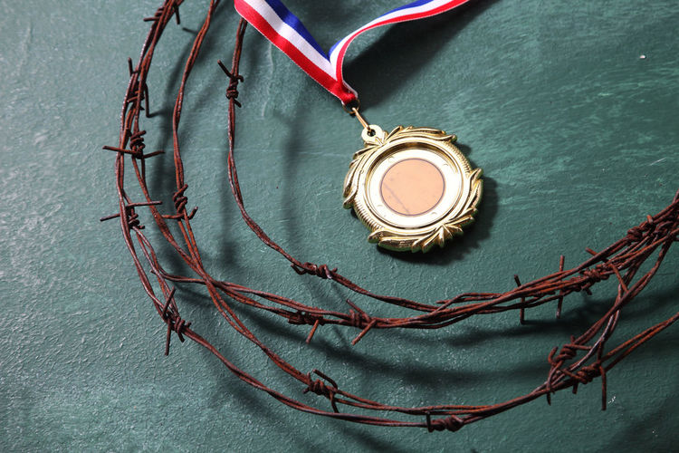 trophy surrounded by the barbed wire Achievement Barbed Wire Boundary Champion Determination Forbidden Security Blackboard  Challenge Coaching Difficult Education High Angle View Medal Military Obstacle Reward Round Sport Struggle Success Task Tough Toughness War
