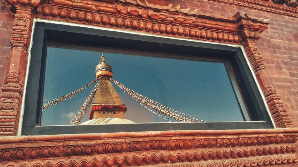 Reflection Window Architecture Built Structure Religion Boudhanath Stupa PhonePhotography EyeEm Selects EyeEmNewHere