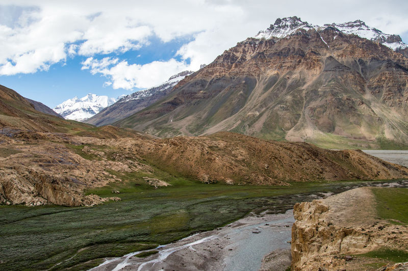 Scenic view of river and himalayan mountains against sky spiti valley india