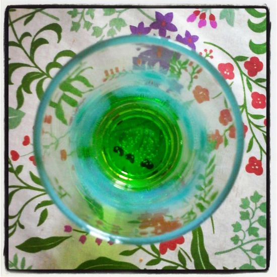 Green Look In Glass Abstract Glass Art  Round Picture