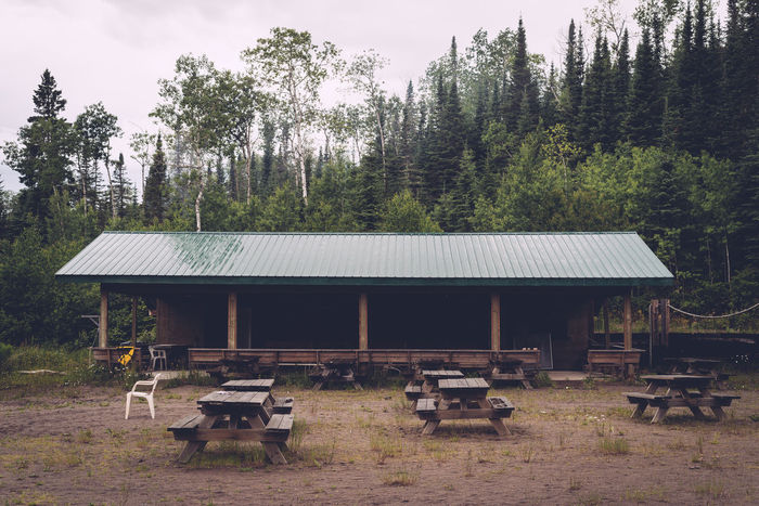 Roof Stage Trees Abandoned Campground Chairs Dirt Empty Picnic Tables Scenics Spread Out Summer