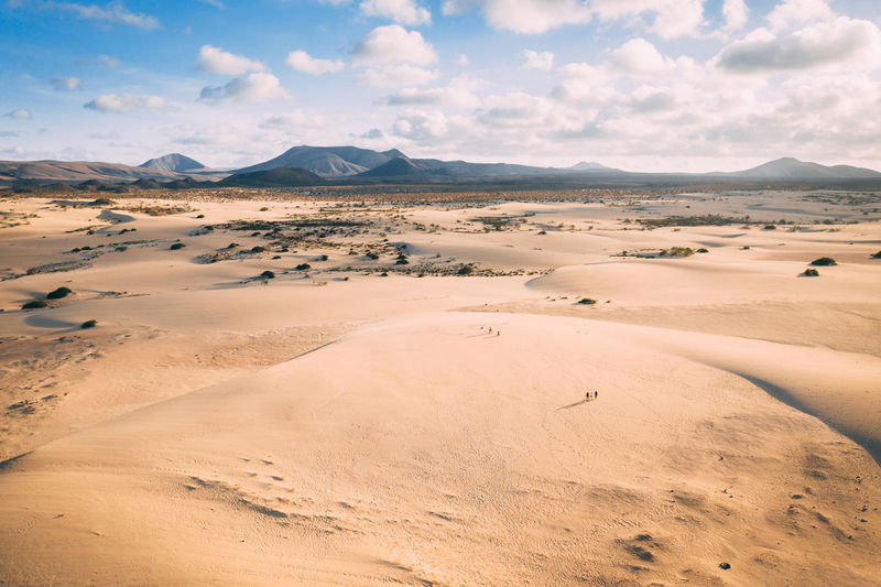 This is an aerial drone camera shot of Corralejo dunes ir Fuerteventura island. Aerial Drone  Landscape Panorama View Travel Dry Desert Sand Background Tourism Dune Nature Summer Scenic Natural Sun Sky Sunset Arid Fuerteventura Dunes Outdoor Horizon Mountain Adventure Beautiful Sunrise Yellow Island Africa Color Canary Islands Clouds Orange Park Vacation Land Hill Outback Corralejo Sahara Terrain Tourists People Small Standing Epic Daytime
