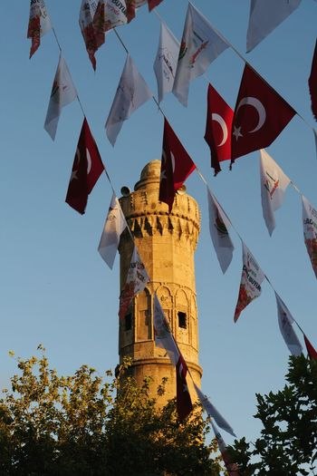 Turkish Flag Turkey Mosque Minaret Blue Sky Sunset Şanlıurfa Flag History Sky Architecture National Flag Patriotism National Icon