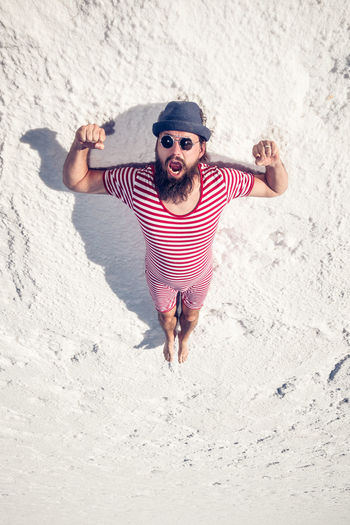 Saltejat De Bolets #nyam Copy Space HERO High Hot Man Stripes Arctic Argentina Arms Raised Bathing Suit  Beard Cold Fashion Flat Flying Hipster Male One Person Salinas Grandes Snow Striped Surreal Trippy Vintage