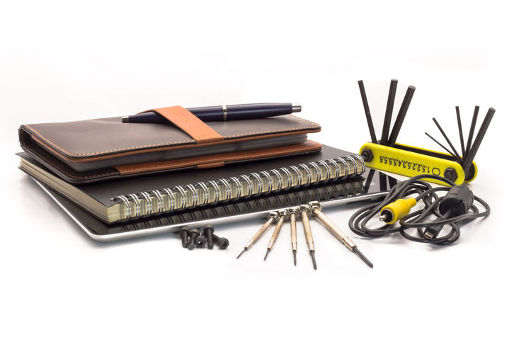 Accessories Book Books Cable Close Up Communication Connection Engineer Equipment Industrial Instruments Iron Isolated Large Group Of Objects Leather Mechanic Metal Multi Notebook Objects Pen Screwdriver Selective Focus Tablet Tools